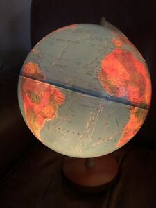 Vintage World Light Up Scan Globe A S 1993 Denmark Wood Base 30cm