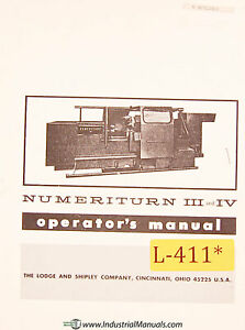 Lodge And Shipley Numeriturn Iii And Iv Machine Center Operations Manual