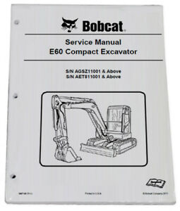 Bobcat E60 Compact Excavator Service Manual Shop Repair Book Part 6987190