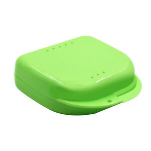 Orthodontic Mouth Guard Denture Retainer Box Dental Storage Container Case Green