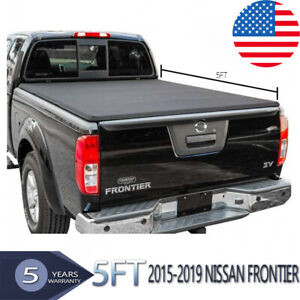For 2015 2019 Nissan Frontier 5ft 60in Vinyl Bed Soft Tri Fold Tonneau Cover