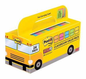 Post it Super Sticky Notes Value Pack 24 Pads Convenient School Bus Case