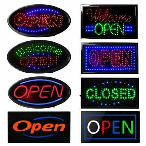 Boshen Square oval Led Open Animated Motion Business Sign Neon Lights Store Shop
