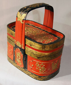 Vintage Chinese Wood Carved And Painted Lunch Box Circa 1982
