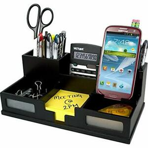 Wood Desk Organizer With Smart Phone Holder Midnight Black 9525 5 Office