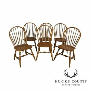 Ethan Allen Country Crossings Maple Set Of 6 Windsor Dining Chairs