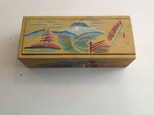 Vintage Japanese Wooden Box Holds Display Of Gun And Sword