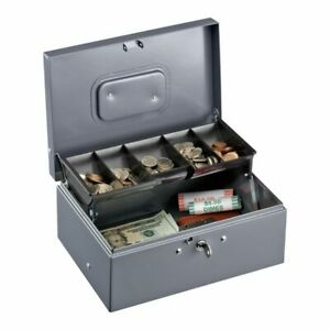 Sparco Key Lock Controller Cash Box With Tray 5 Compartments 3 7 16 X 11 7 16