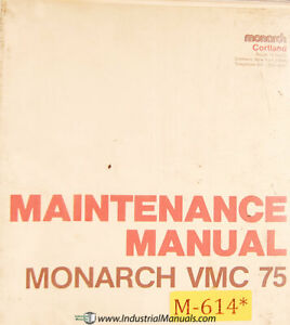 Monarch 75 Vmc Maintenance Manual Year 1975
