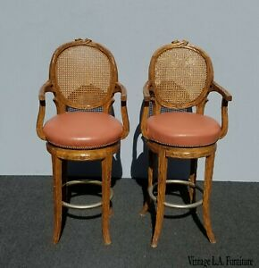 Pair Vintage French Country Orange Coral Leather Cane Swivel Barstools Bar Stool