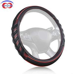 1x Car Steering Wheel Cover 15 Inch 38mm Odorless Soft Pu Leather Black And Red
