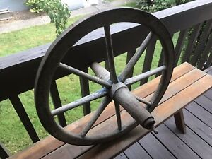 Antique Vintage Metal Wood Spoke Industrial Wheel Farm Machine Age Gear