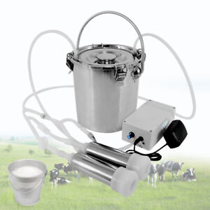 5l Electric Milking Machine Stainless Steel Milk Drum Cow Milker Home