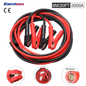 20ft 3000a Heavy Duty Booster Jumper Cables Zipped Carry Case For Car Battery