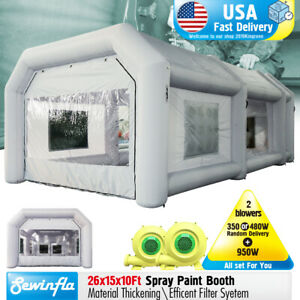 Spray Booth Inflatable Tent Car Paint Portable Cabin With 2 Blowers 26x15x10ft