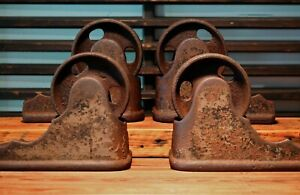 Set Of 4 Early 1900 S Antique Industrial Cast Iron Safe Wheels Casters