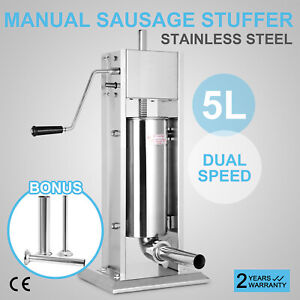 5l Vertical Commercial Sausage Stuffer 15lb Double Speed Ss Meat Press