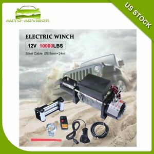 Electric Recovery Winch Steel Rope 12v 4wd Offroad Truck Trailer Suv Car 10000lb
