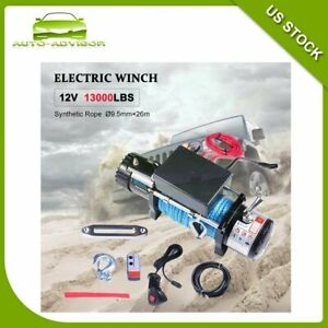 12v 13000lb Electric Recovery Winch Synthetic Rope Remote Control 4wd