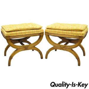 Pair Of Karges X Frame French Neoclassical Regency Style Curule Stools Benches