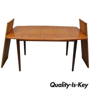 Mid Century Danish Modern Teak Dining Table With 2 Leaves By Gustav Bahus Norway