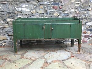 An Amazing Primitive Antique Dry Sink With Old Green Paint Unusual Proportions