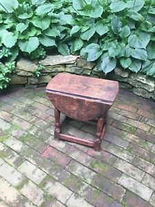 An Early English Oak Drop Leaf Side Table Rare Size