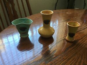 3 Beautiful Vtg Rushmore Pottery Vases Souvenirs from Sitting Bull Cave 1940#x27;s