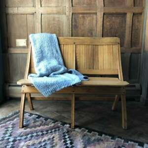 Vintage Folding Theater Seats Wood Church Pew Bench Antique Entryway Seating