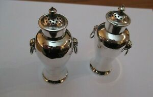 Very Fine Wang Hing Antique Chinese Solid Silver Temple Jar Salt Pepper Cruets