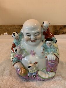 Old Chinese Porcelain Famille Rose Buddha W Children Marked