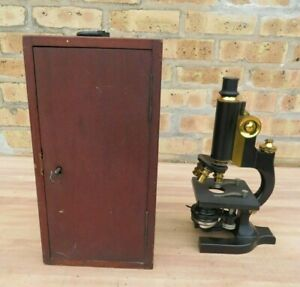 Vintage Spencer Lens Co Scientific Laboratory Brass Microscope W Wooden Box