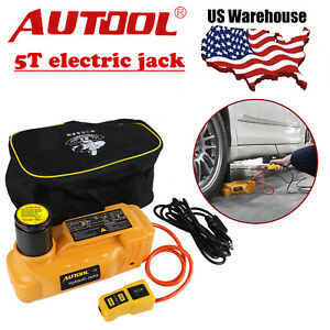 Autool 5t Portable Hydraulic Electric Floor Jacks 12v Car Lifting Shop Equipment