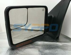 Left Driver Side For 07 14 F150 Pickup Power Heated Signal Mirror Chrome Cap