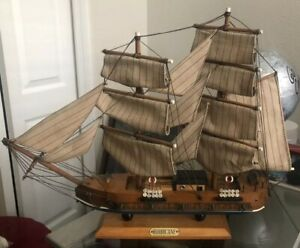 Large Wooden Model Sailboat With Sail And Rigging Vintage Shipping Included