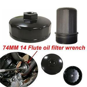 1x Black 74mm 14 Flute Oil Filter Cap Wrench Socket Tool For Benz Audi Toyota Vw