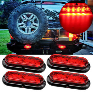 4x 10 Led 6 Red Oval Surface Mount Brake Stop Tail Light Car Truck Trailer