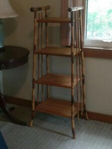 Victorian Rattan Book Shelf Magazine Stand Antique Bamboo