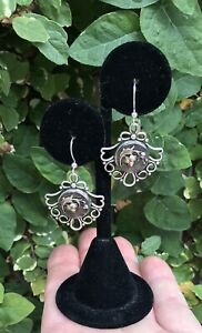 Artisan Made Antique French Button Earrings Victorian Era Cut Steel Buttons
