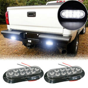 2x 6 White 10 Led Oval Truck Trailer Stop Turn Backup Tail Light W Flange Mount