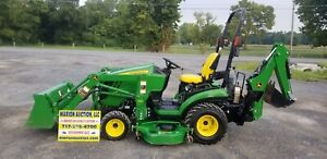 2014 John Deere 1025r Compact Loader Tractor W mower And Backhoe Only 215 Hours