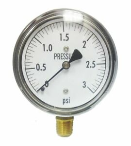 Low Pressure Gauge 3 Psi 2 5in Dial 1 4 Inch Npt Connection Gas Leak Detection