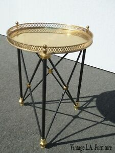 Vintage French Provincial Brass Side Table Hollywood Regency Serving Tray