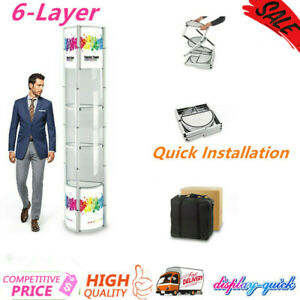 Ving 6 layer Semi circle Portable Spiral Tower Display Case Quick Installation