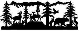 Vinyl Decal Sticker Buck Deer Bear Wildlife Scene 20 Colors Car Truck Rv a11