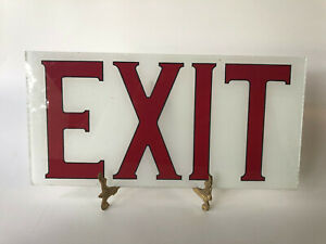 Vintage Reverse Painted Glass Exit Sign 12 X 5 75 Red White