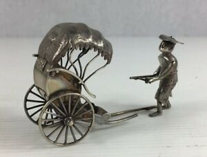 Antique Chinese Solid Silver Export Luen Wo Rickshaw A F Damage 38 6g
