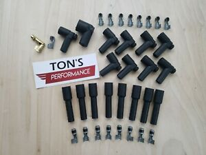 8 Cylinder Black Rubber Spark Plug Boot Kit Steel Brass Ends V8 Coil Wire Hei