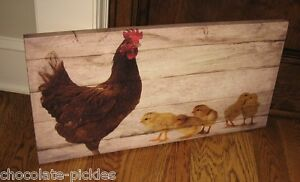 Rooster Chicken Chick Canvas Picture Primitive French Country Farmhouse Decor