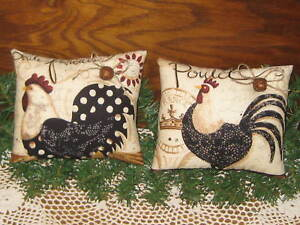 2 Rooster Chicken Fabric Shelf Sitters Farmhouse Country Kitchen Home Decor